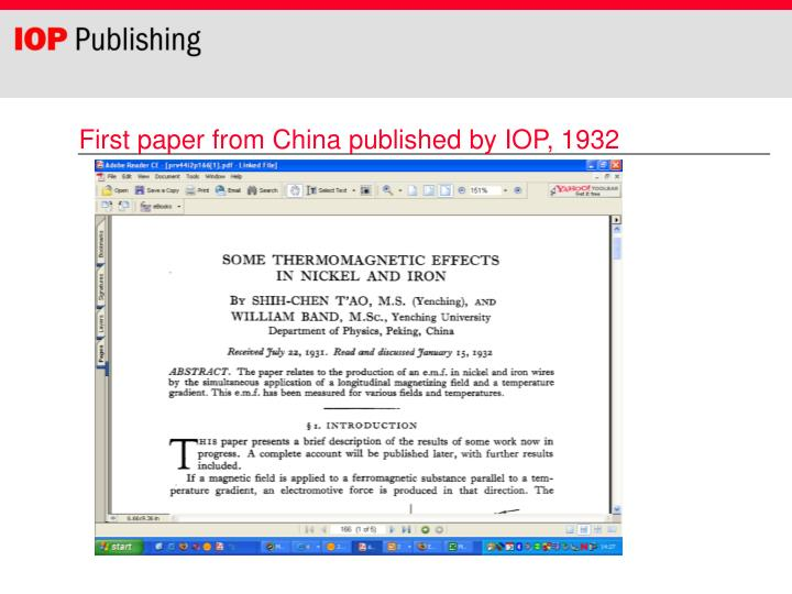 First paper from China published by IOP, 1932