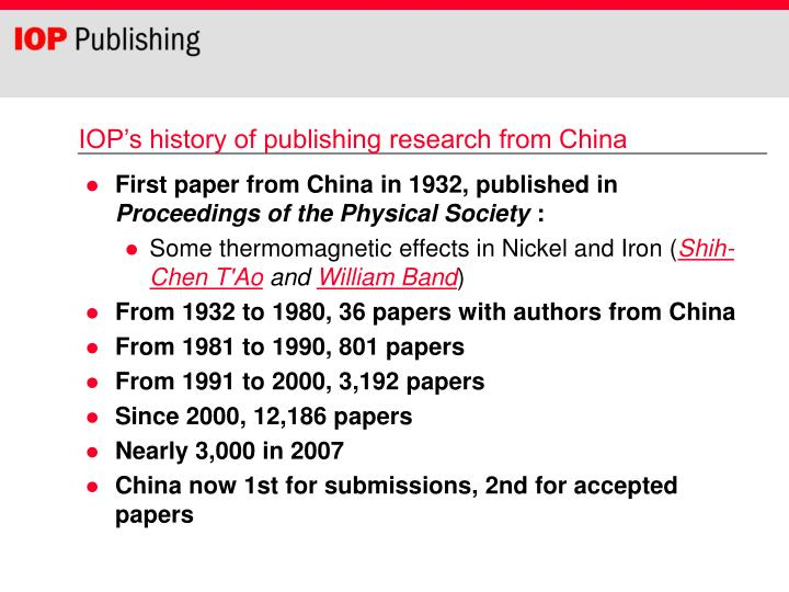 IOP's history of publishing research from China