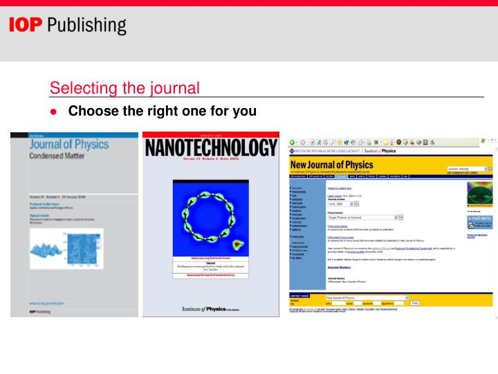 Selecting the journal