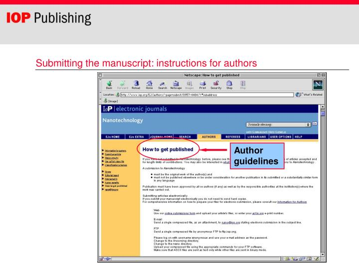 Submitting the manuscript: instructions for authors