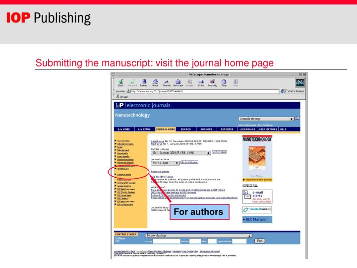 Submitting the manuscript: visit the journal home page