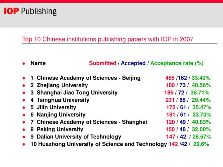 Top 10 Chinese institutions publishing papers with IOP in 2007