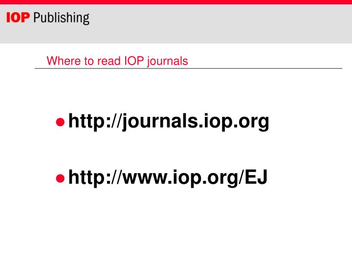 Where to read IOP journals