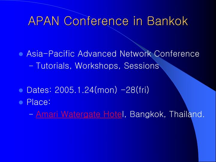 Apan conference in bankok