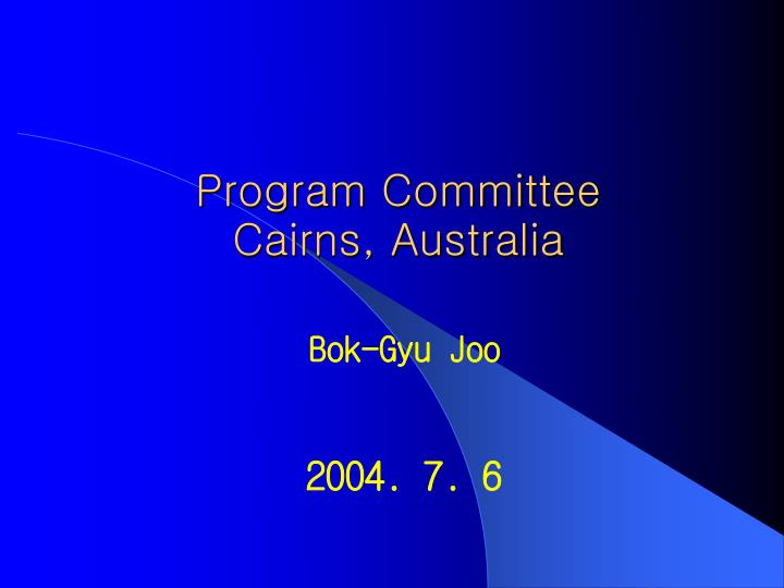 program committee cairns australia