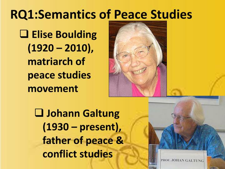 RQ1:Semantics of Peace Studies