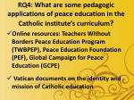 rq4 what are some pedagogic applications of peace education in the catholic institute s curriculum