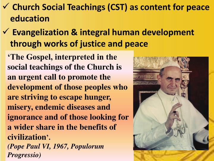 Church Social Teachings (CST) as content for peace education
