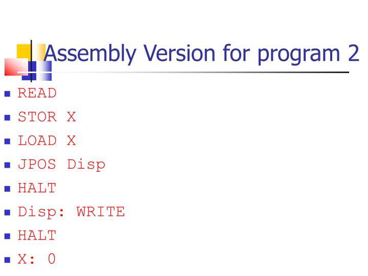 Assembly Version for program 2