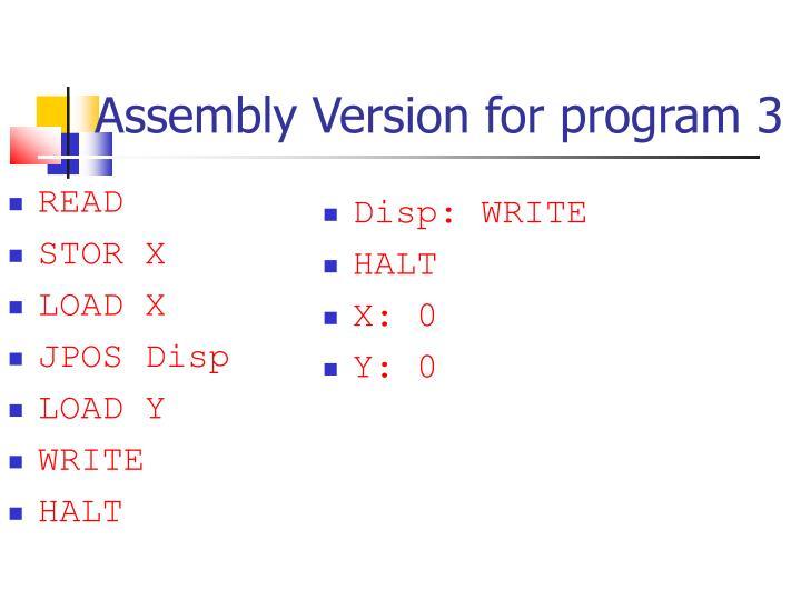 Assembly Version for program 3
