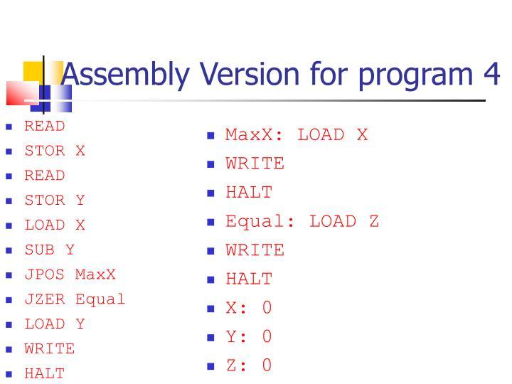 Assembly Version for program 4