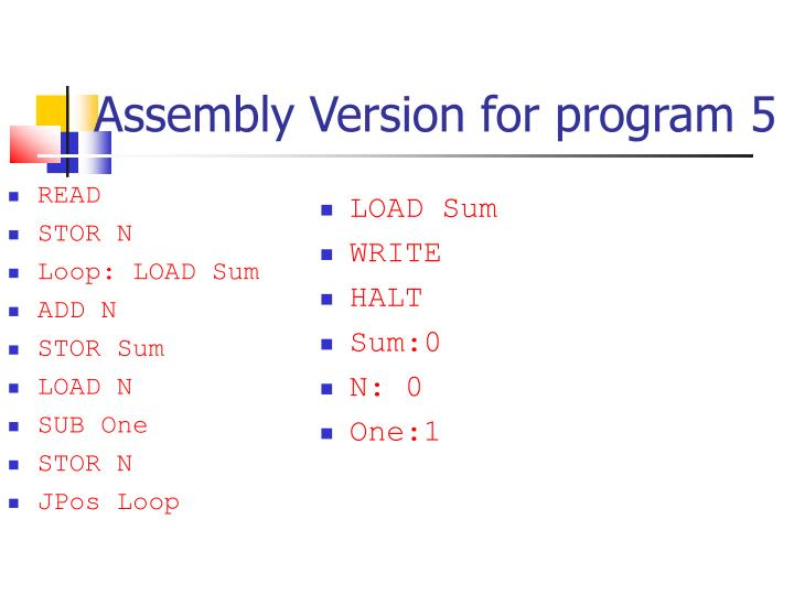 Assembly Version for program 5