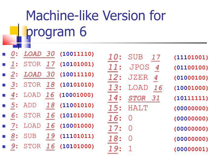 Machine-like Version for program 6