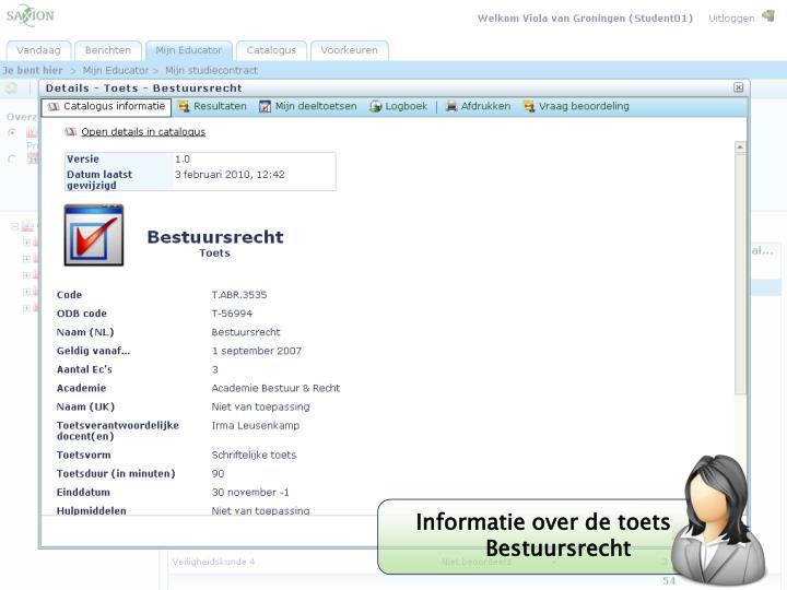 Informatie over de toets Bestuursrecht