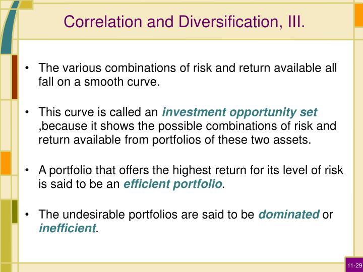 Correlation and Diversification, III.