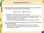expected returns i