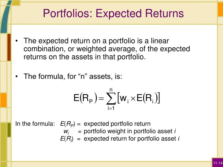 Portfolios: Expected Returns