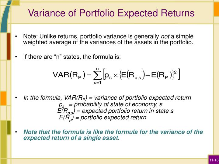 Variance of Portfolio Expected Returns