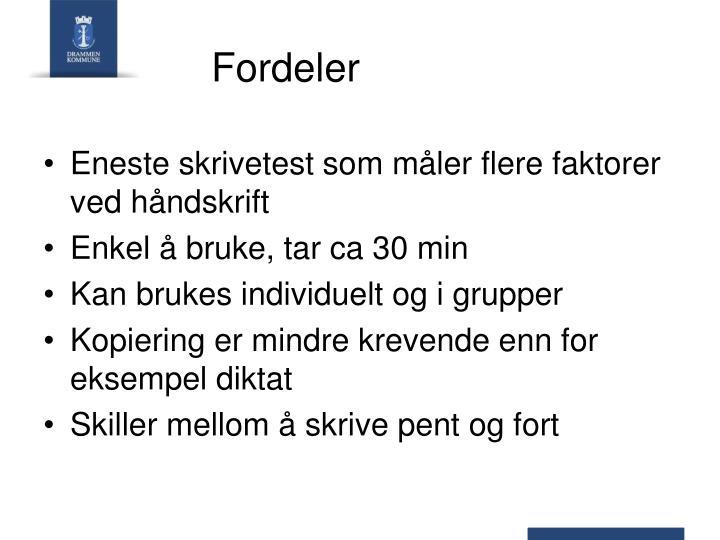 Fordeler