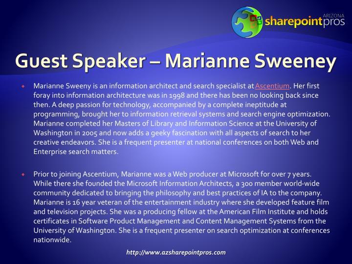 Guest Speaker – Marianne Sweeney
