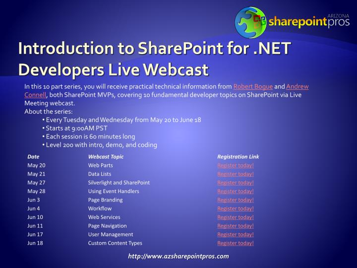 Introduction to SharePoint for .NET Developers Live Webcast