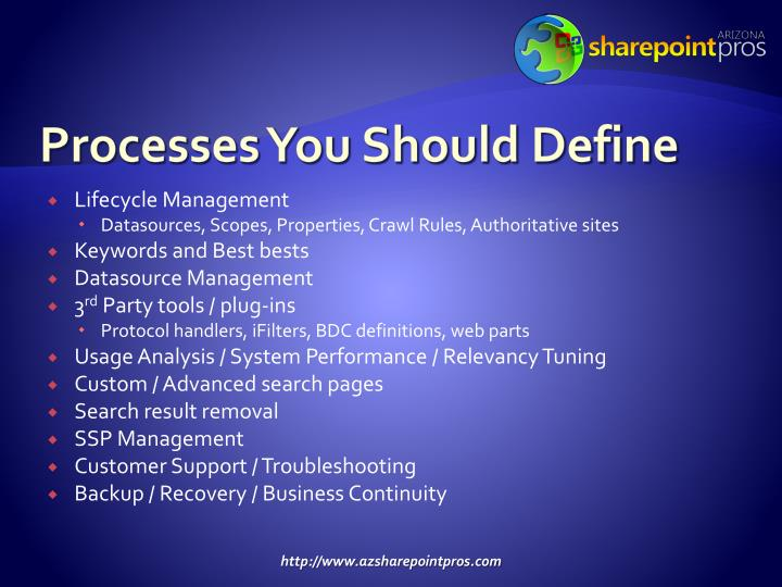 Processes You Should Define