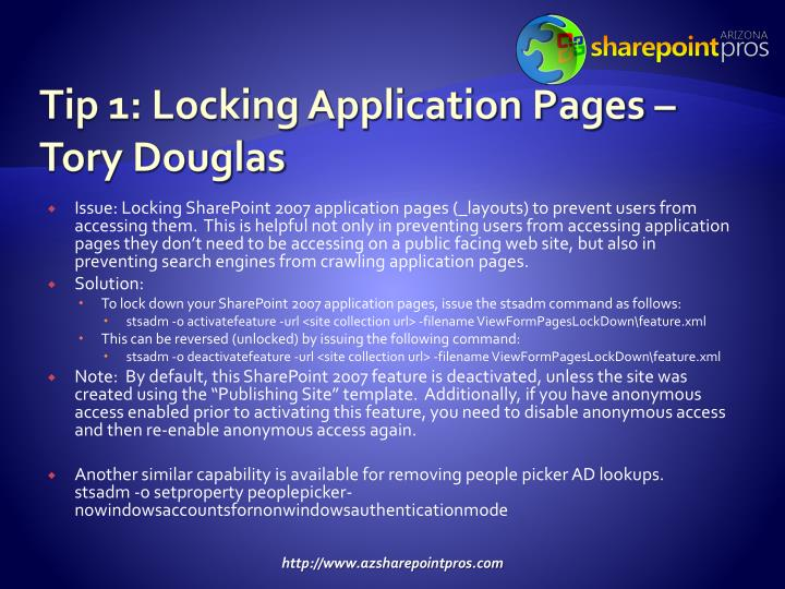 Tip 1: Locking Application Pages – Tory Douglas
