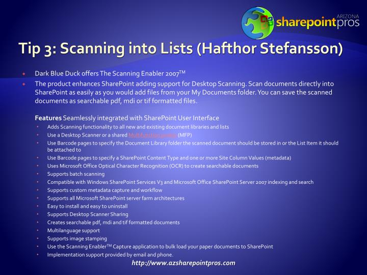Tip 3: Scanning into Lists (Hafthor Stefansson)