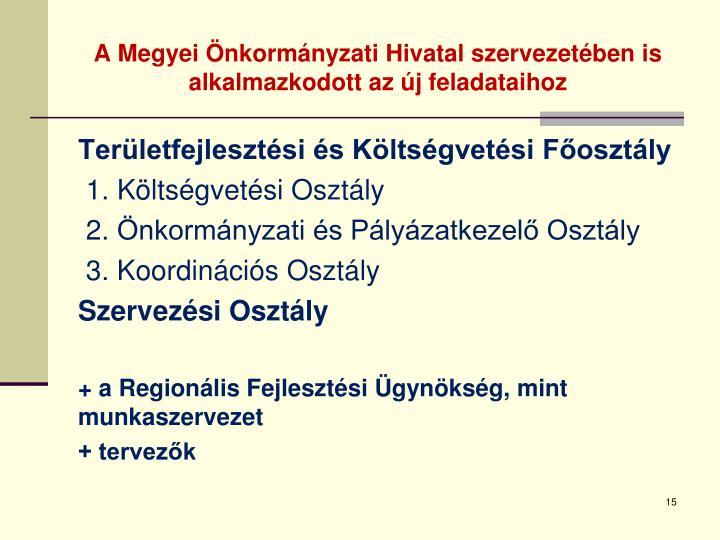 A Megyei Önkormányzati Hivatal szervezetében is alkalmazkodott az új feladataihoz