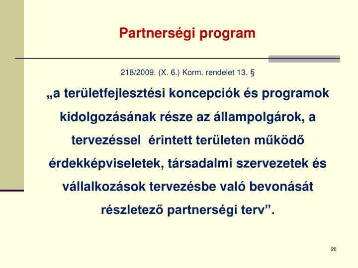 Partnerségi program