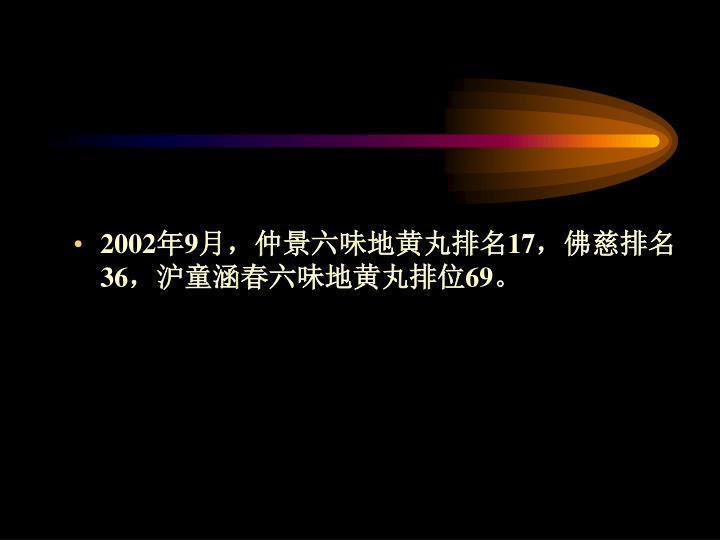 2002年9月,仲景六味地黄丸排名17,佛慈排名36,沪童涵春六味地黄丸排位69。