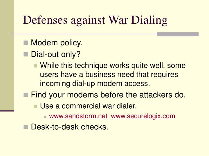 Defenses against War Dialing