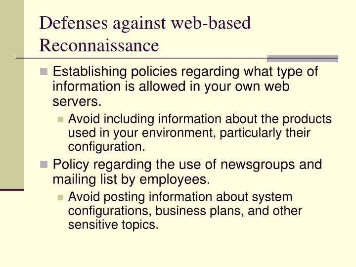 Defenses against web-based Reconnaissance