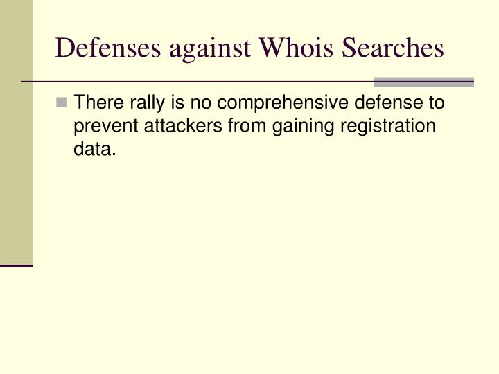 Defenses against Whois Searches