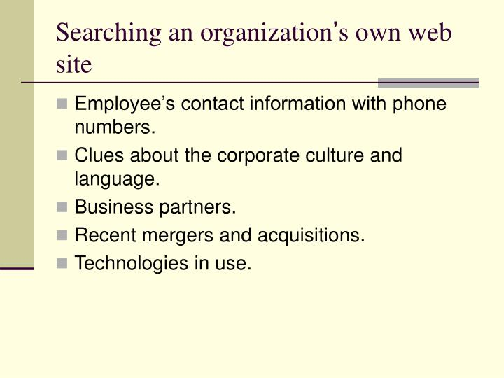 Searching an organization