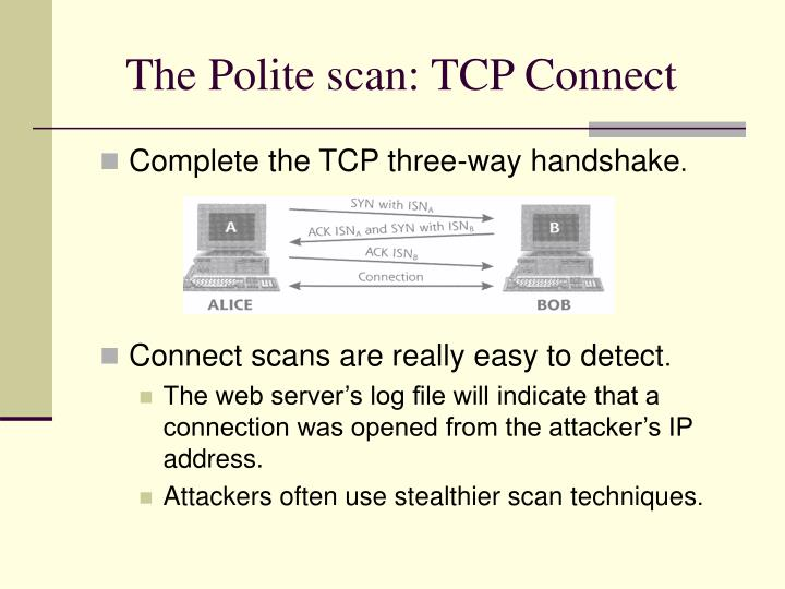 The Polite scan: TCP Connect
