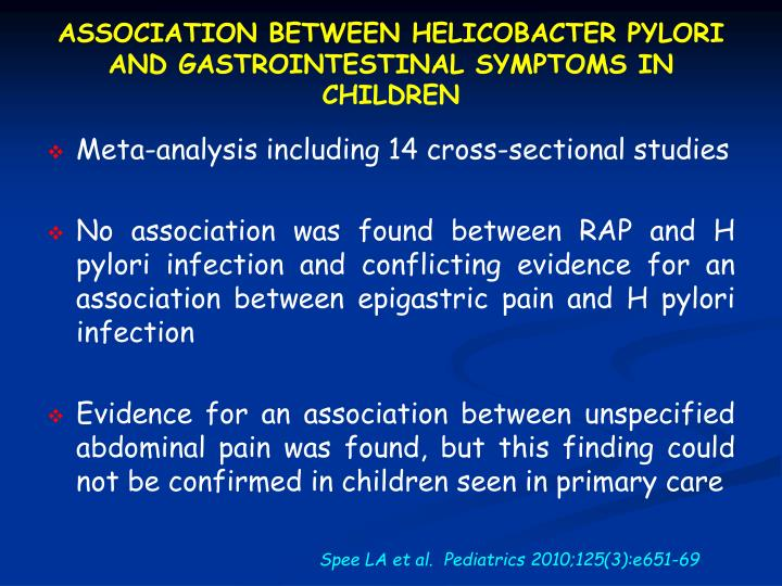 ASSOCIATION BETWEEN HELICOBACTER PYLORI AND GASTROINTESTINAL SYMPTOMS IN CHILDREN