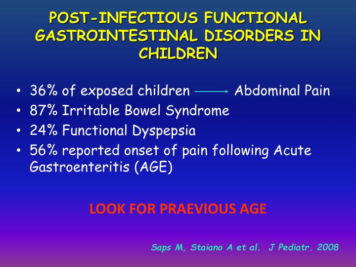 POST-INFECTIOUS FUNCTIONAL GASTROINTESTINAL DISORDERS IN CHILDREN