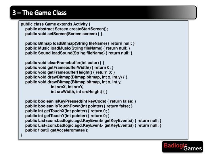 3 – The Game Class