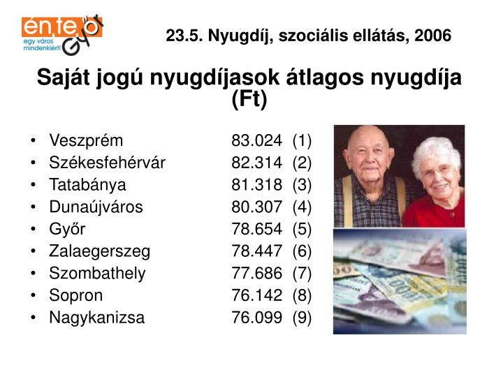 23.5. Nyugdíj, szociális ellátás, 2006