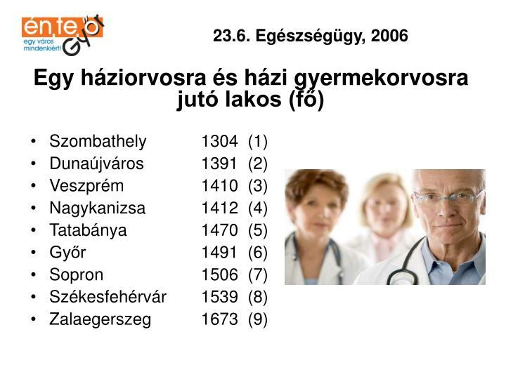 23.6. Egészségügy, 2006