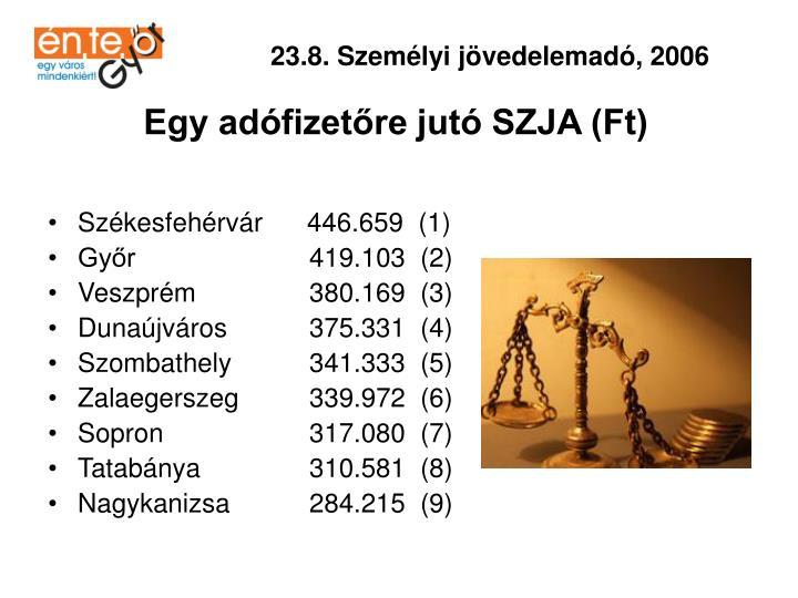 23.8. Személyi jövedelemadó, 2006