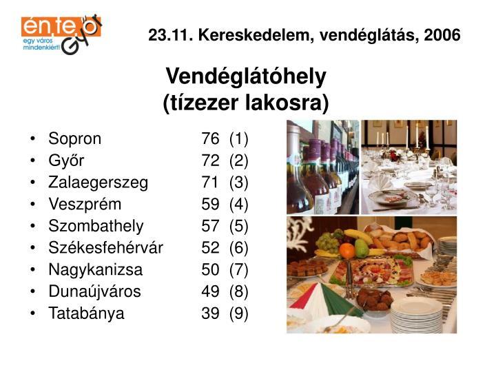 23.11. Kereskedelem, vendéglátás, 2006
