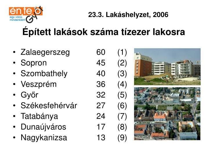 23.3. Lakáshelyzet, 2006