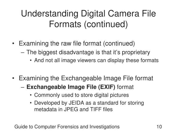 Understanding Digital Camera File Formats (continued)