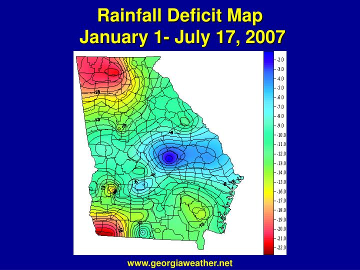 Rainfall deficit map january 1 july 17 2007
