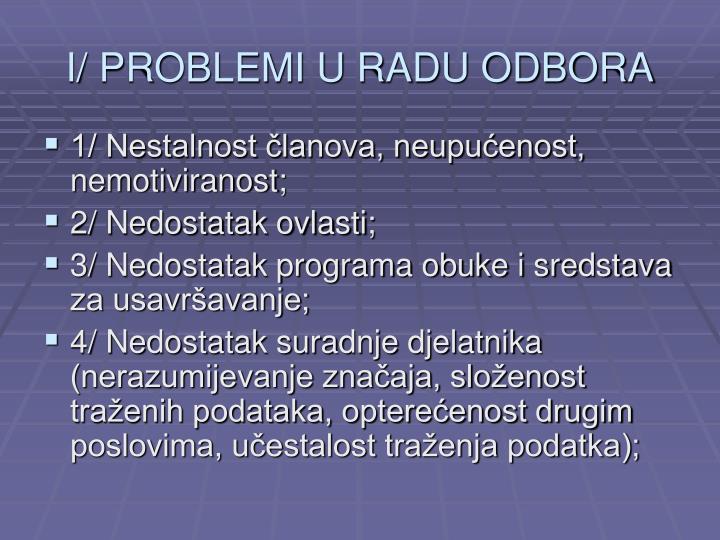 I/ PROBLEMI U RADU ODBORA