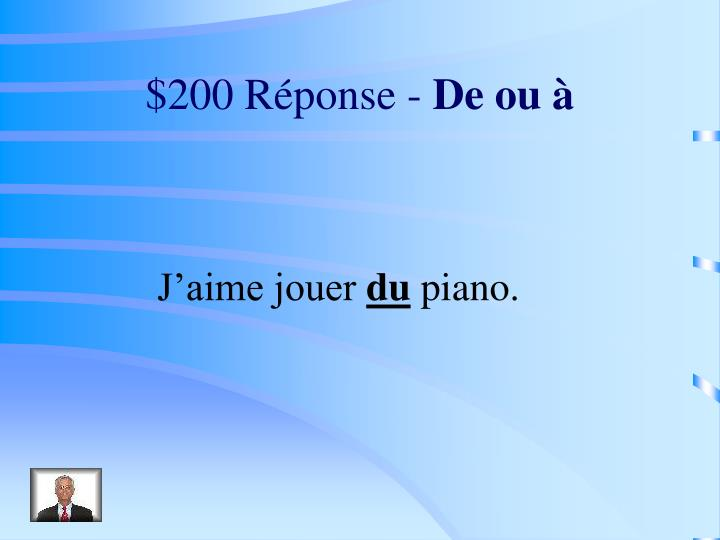 $200 Réponse -