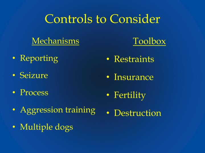 Controls to Consider