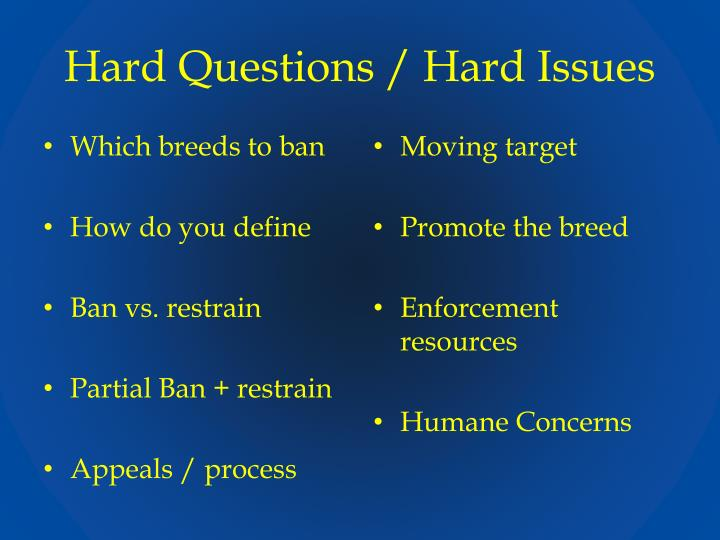 Hard Questions / Hard Issues